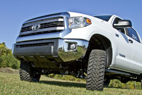 "T1 - Zone Offroad 5"" Lift Kit Suspension System for 2007-2015 Toyota Tundra - installed on white tundra - front under view"