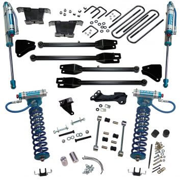 """SuperLift 4"""" Lift Kit For 2008-2010 Ford F-250 and F-350 Super Duty 4WD - with a 4-Link Conversion, King Coilovers and King rear Shocks"""